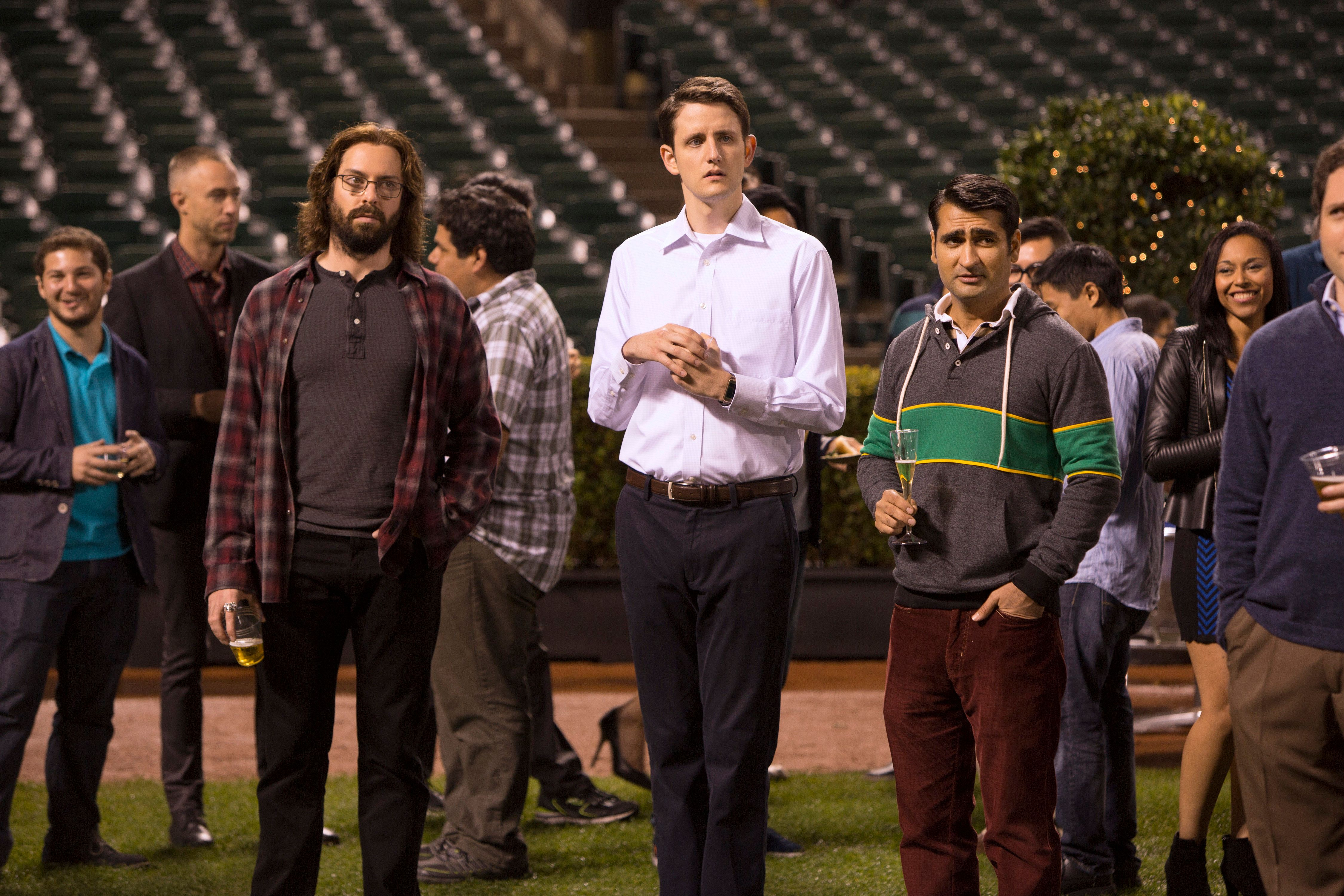 """Martin Starr, Zach Woods and Kumail Nanjiani in Season 2 of """"Silicon Valley."""""""