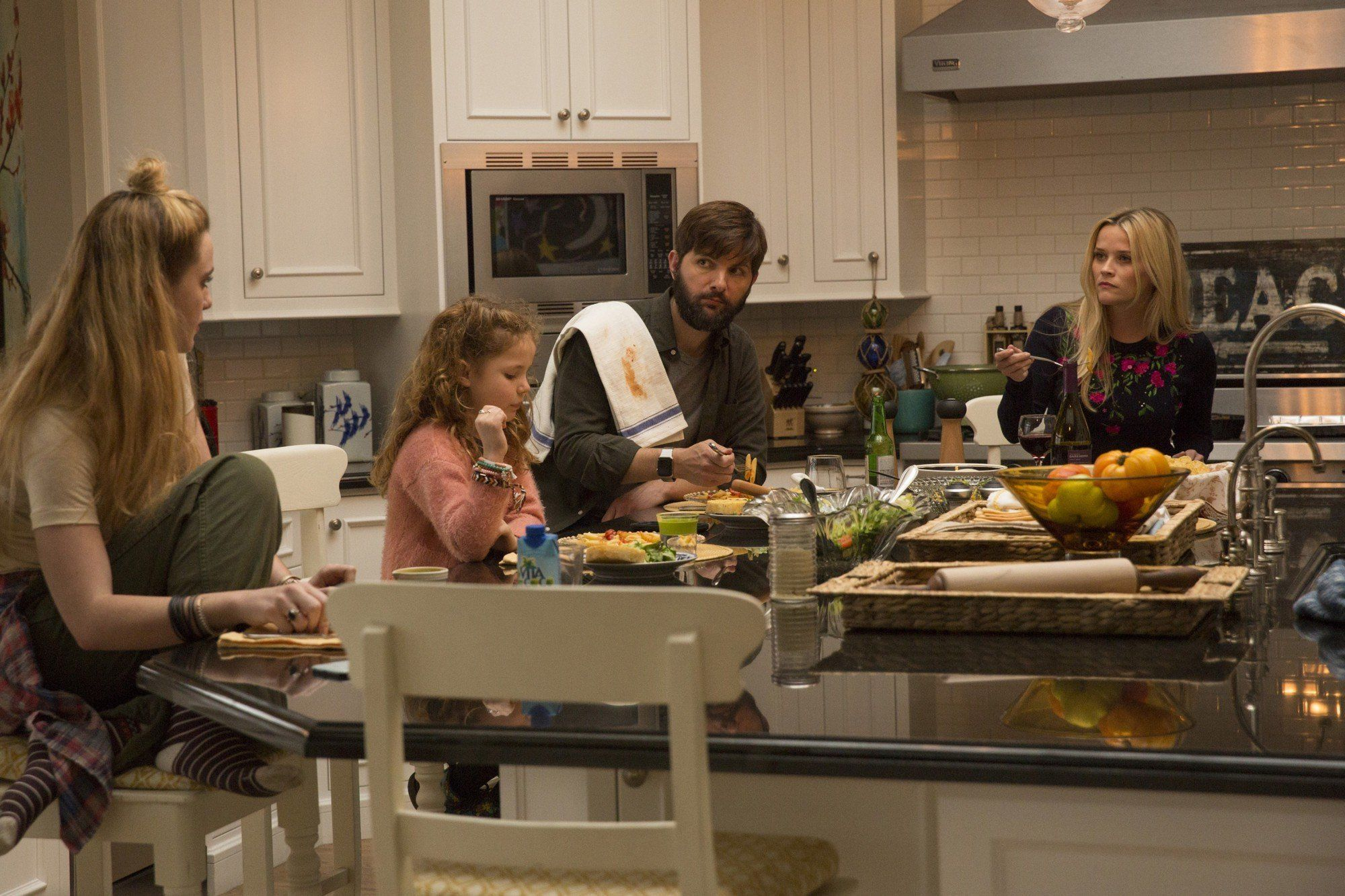 "From left, Kathryn Newton, Darby Camp, Adam Scott and Reese Witherspoon on ""Big Little Lies."""