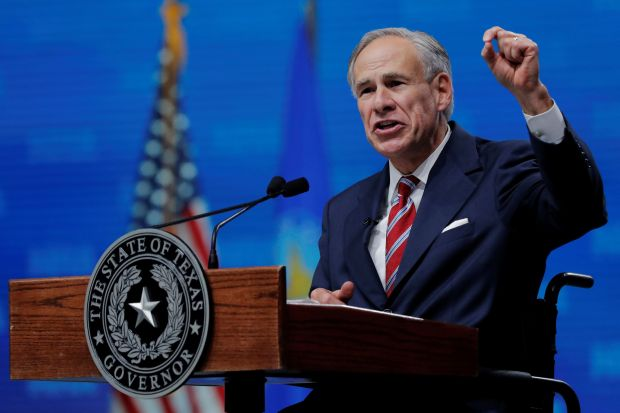 Texas Gov. Greg Abbott (R) speaks at the annual National Rifle Association convention in Dallas on May 4.