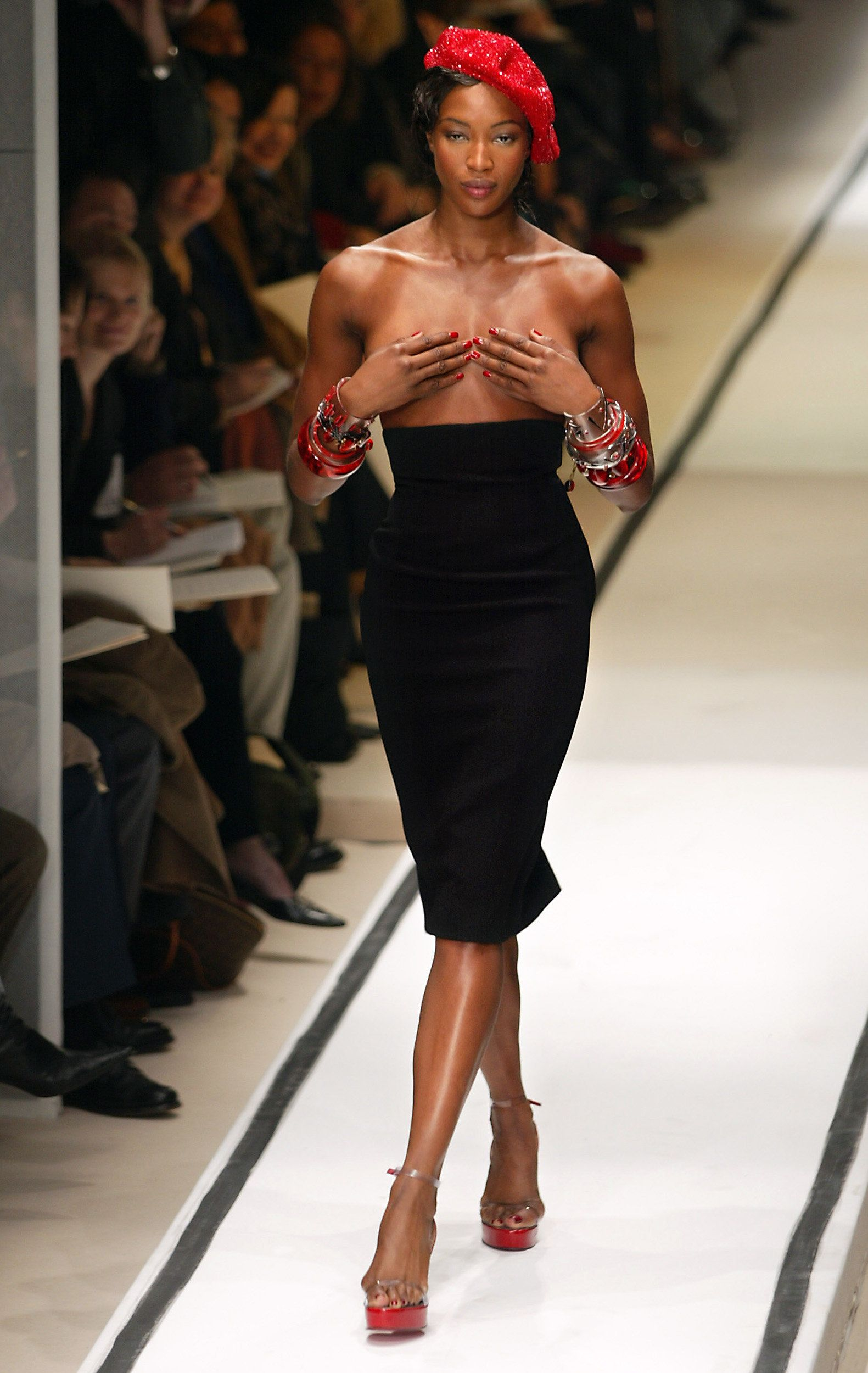 Walking the runway at a Jean-Paul Gaultier show in Paris.