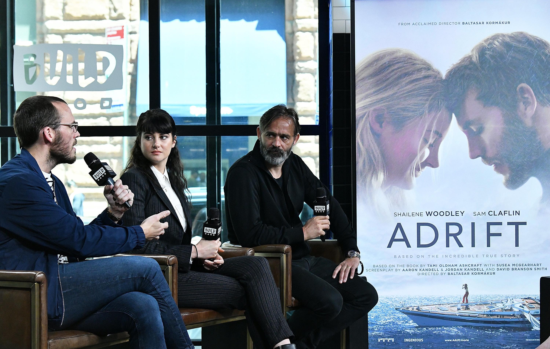 "Claflin talks about ""Adrift"" at the Build Studio with his co-star Shailene Woodley and directorBaltasar Kormákur"