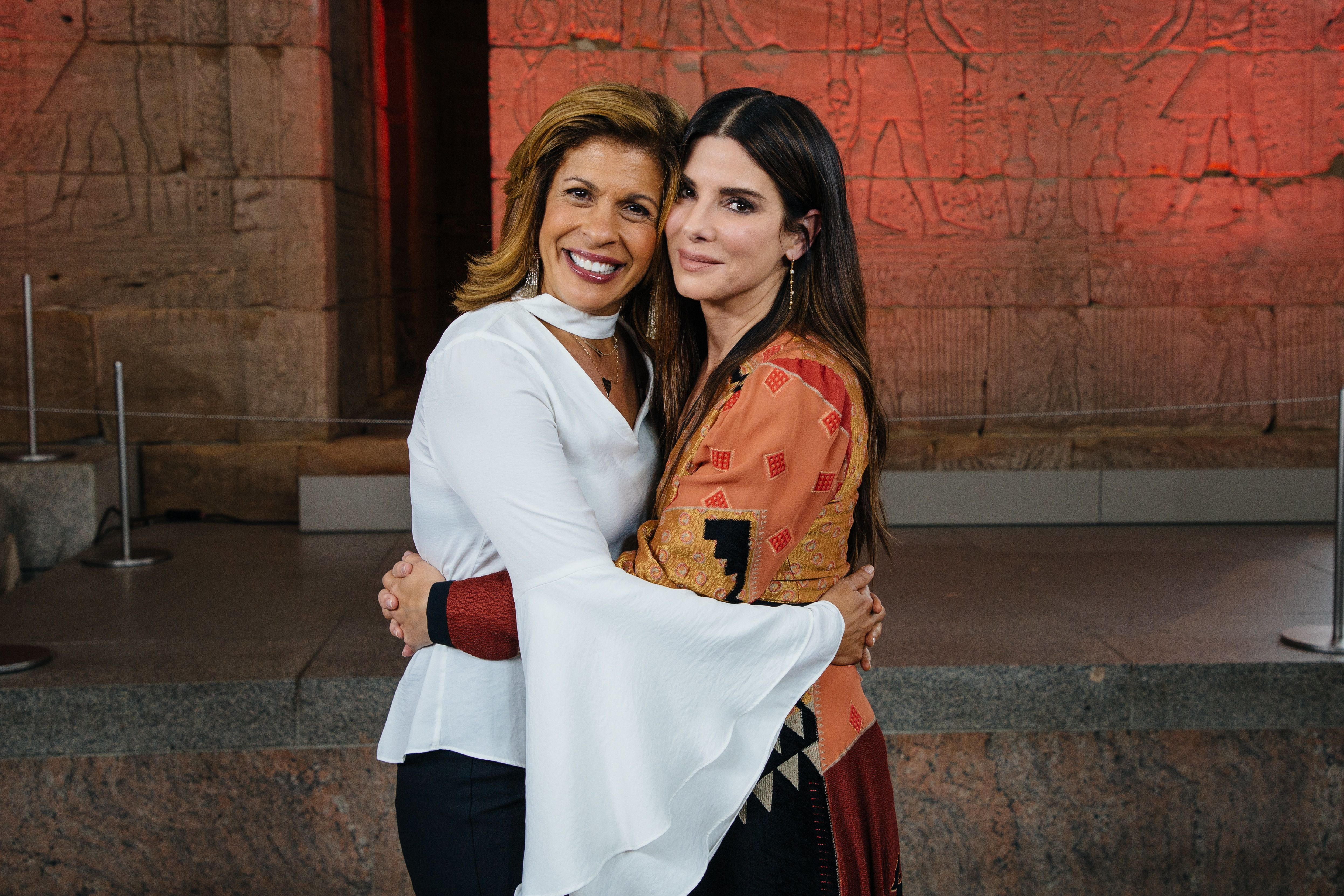 Hoda Kotb (left) interviewed Sandra Bullock about her family and role as a mother.
