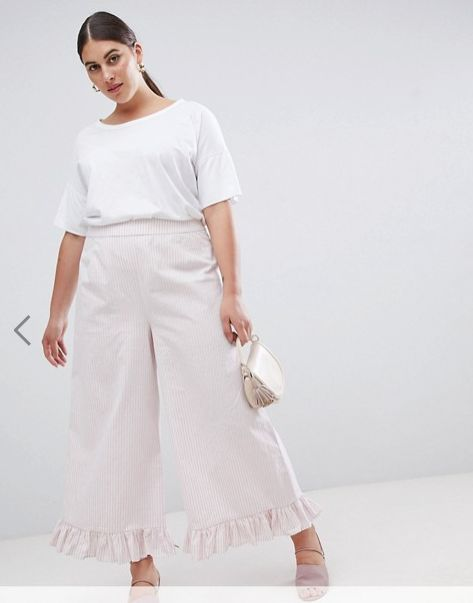 "Get the matching set <a href=""http://us.asos.com/lost-ink-plus/lost-ink-plus-wide-leg-pants-with-frill-hem-in-stripe-two-piec"