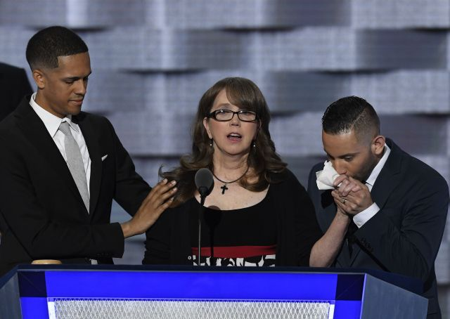 Brandon Wolf appears onstage at thethe Democratic National Convention alongsideChristopher Leinonen's mother and