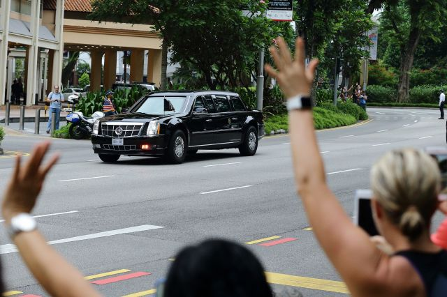Trump's motorcade leaves for the Capella Hotel on Sentosa Island, Singapore, the site of the summit.
