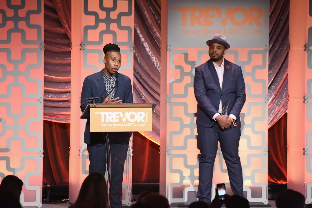 Lena Waithe accepts the Hero Award from Justin Simien onstage during TrevorLIVE NYC.