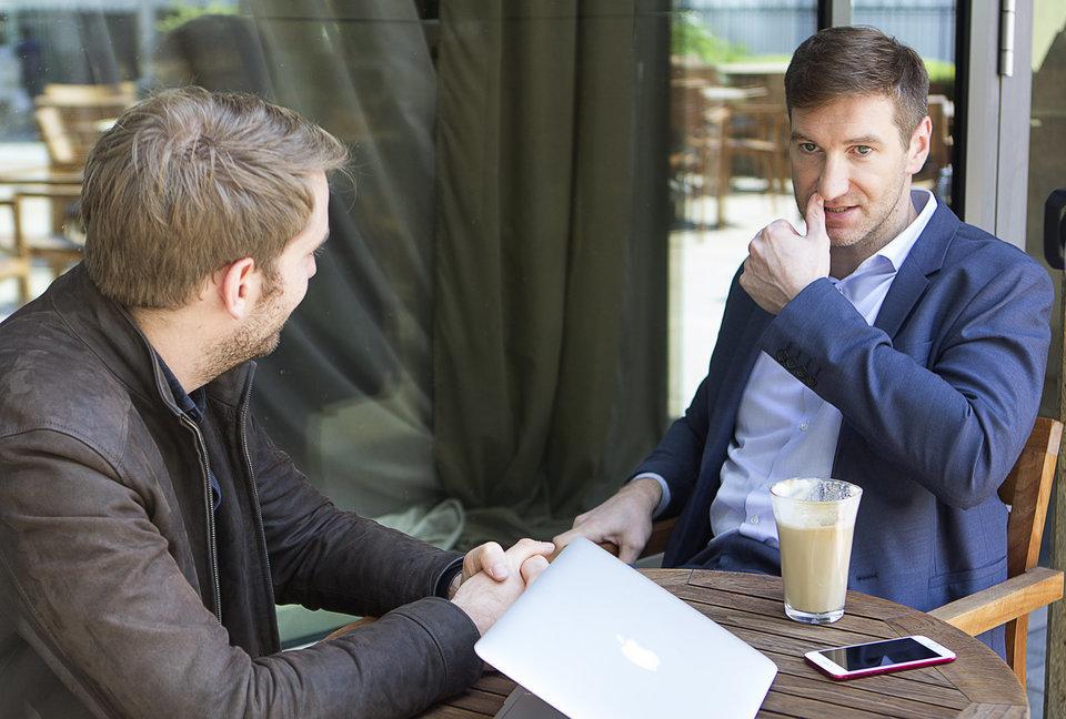 Anton Krasovsky talking to HuffPost reporter Jurgen Klockner.