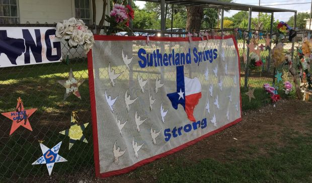 A Sutherland Springs Strong banner outside the original First Baptist Church.