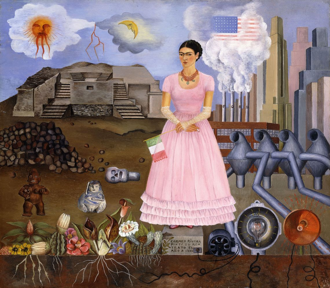 Self-portrait on the Border between Mexico and the United States of America, Frida Kahlo, 1932.