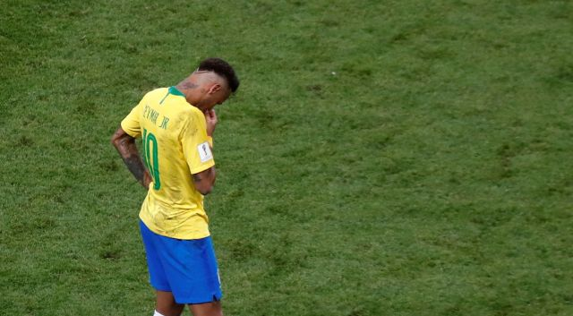 Brazil's Neymar looks dejected after the team's World Cup elimination by Belgium on July 6, 2018.