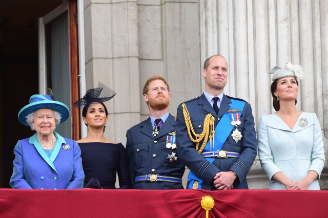 The royals observe the RAF 100th anniversary flypast from the balcony of Buckingham Palace on July 10 in London.