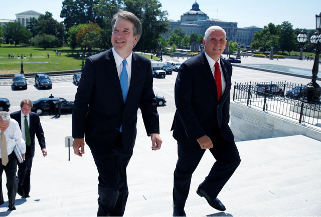 Supreme Court nominee Brett Kavanaugh on Tuesday arriveswith U.S. Vice President Mike Pence prior to meeting with Senat