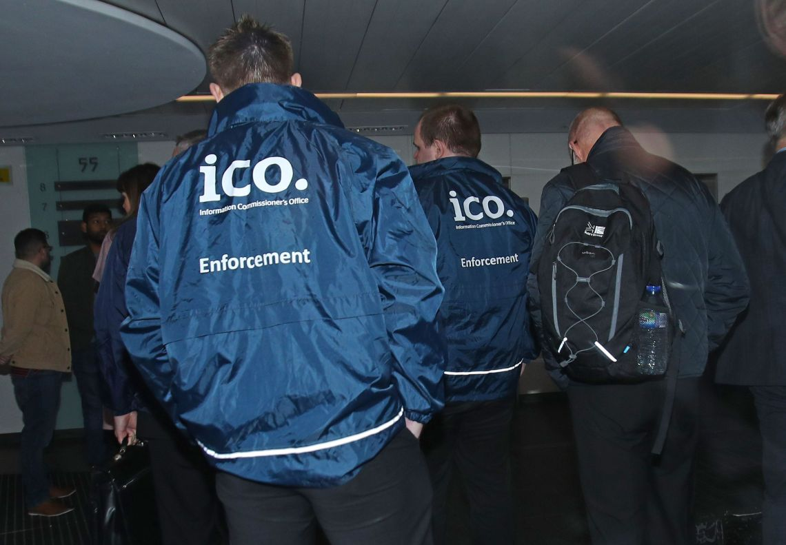 Enforcement officers working for the Information Commissioner's Office entering the offices of Cambridge Analytica in central London after a High Court judge granted a search warrant