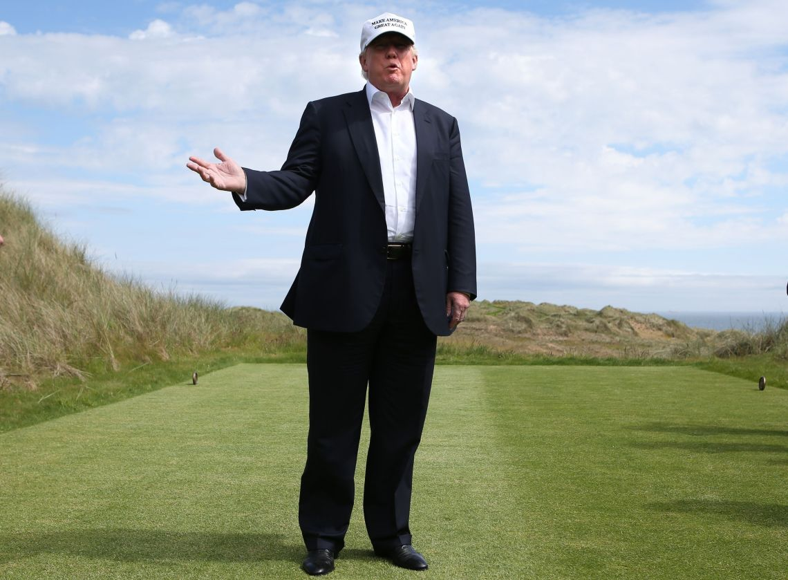 Trump on a previous visit to Trump International Gold Links in Balmedie, Scotland.