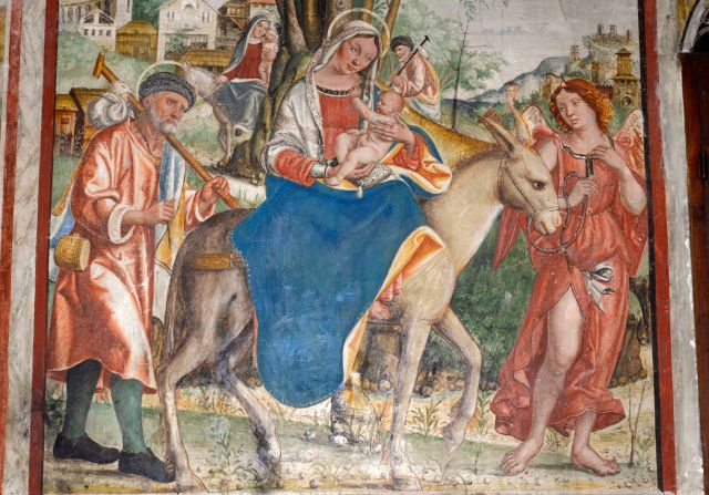 Jesus' flight into Egypt is depicted in a 16th-century fresco by Francesco da Milano, located in a cathedral in the Vene