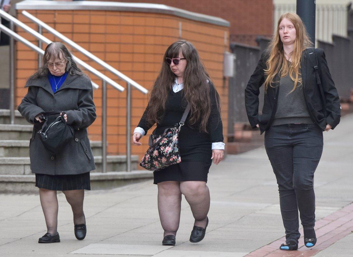From left: Denise Cranston, Dawn Cranston and Jordan's sister Abigail Burling leave Leeds Crown Court