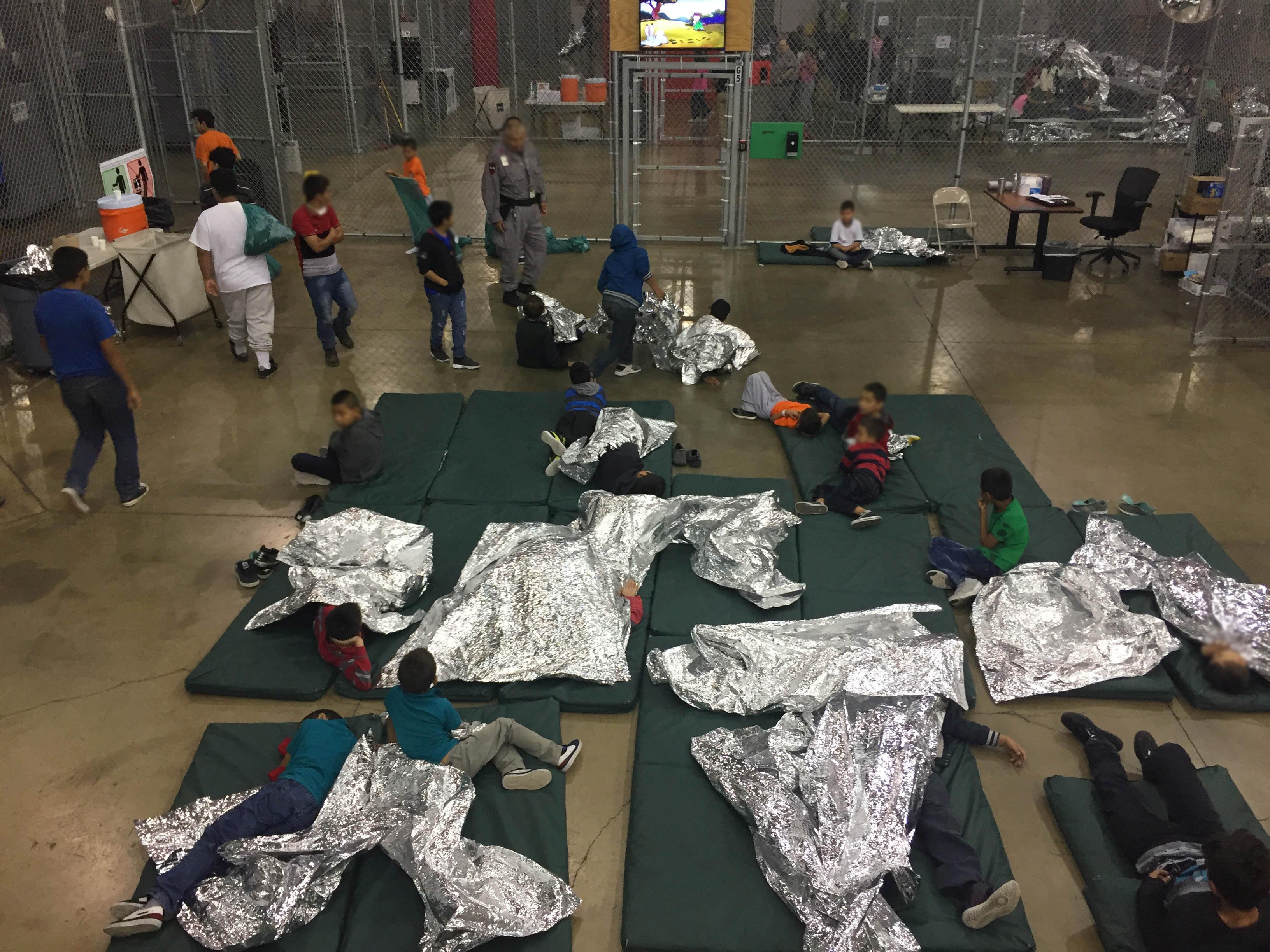 Children at Customs and Border Protection's Rio Grande Valley Centralized Processing Center in Rio Grande City, Texas, on Jun