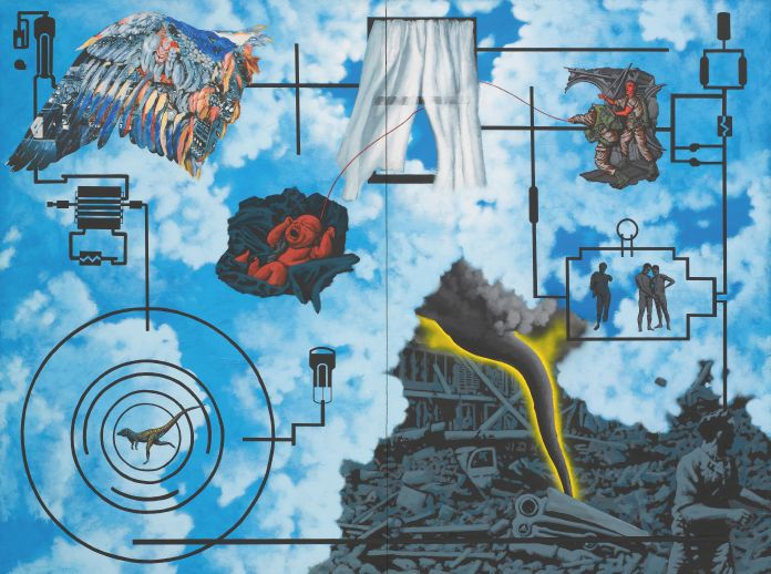 David Wojnarowicz (1954–1992), <i>Wind (For Peter Hujar)</i>, 1987. Acrylic and collaged paper on composition boar