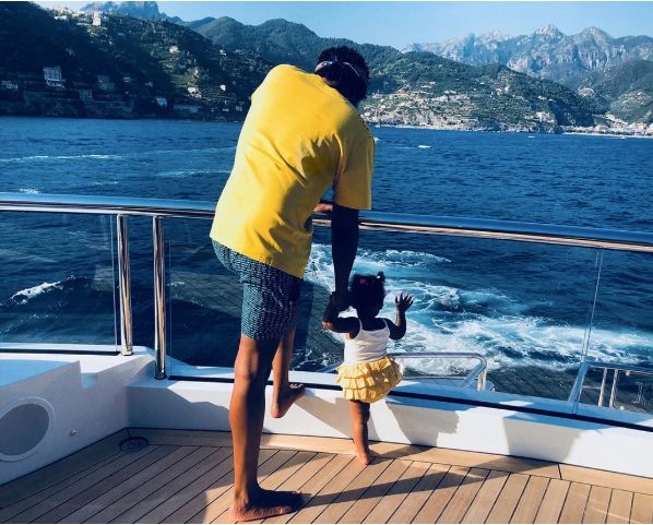 Jay-Z and Rumi on the yacht.