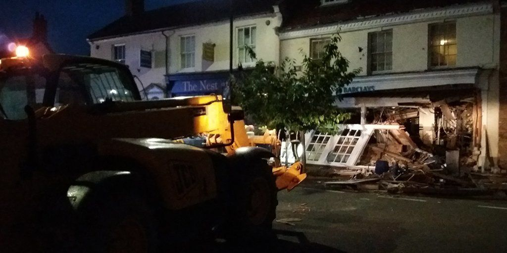 The JCB was left abandoned at the scene.