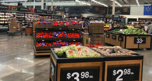 The produce section in the Walmart supercenter store in Salem, New Hampshire.