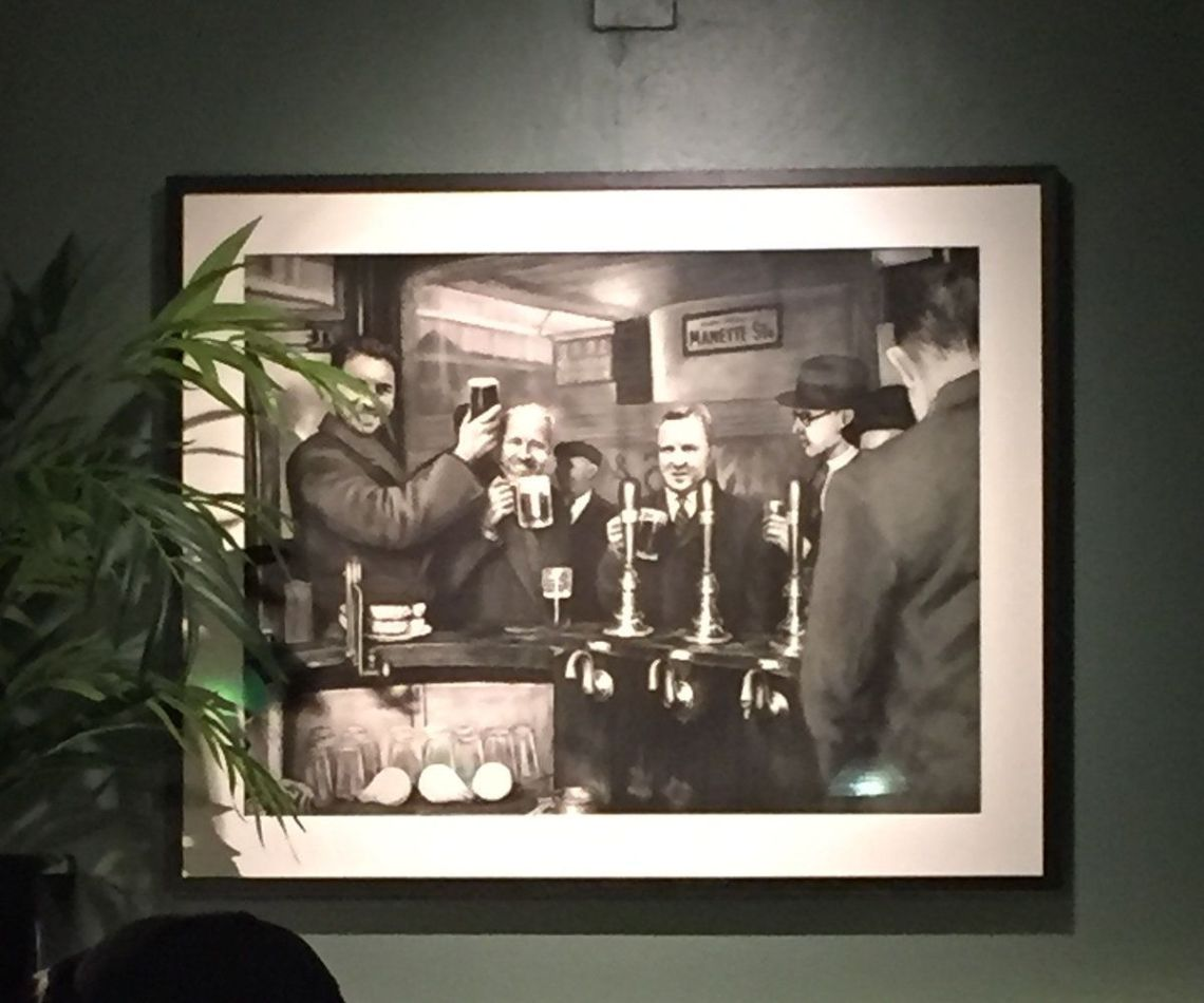 The new illustrated version of the historic photograph on display at Bar Hercules.