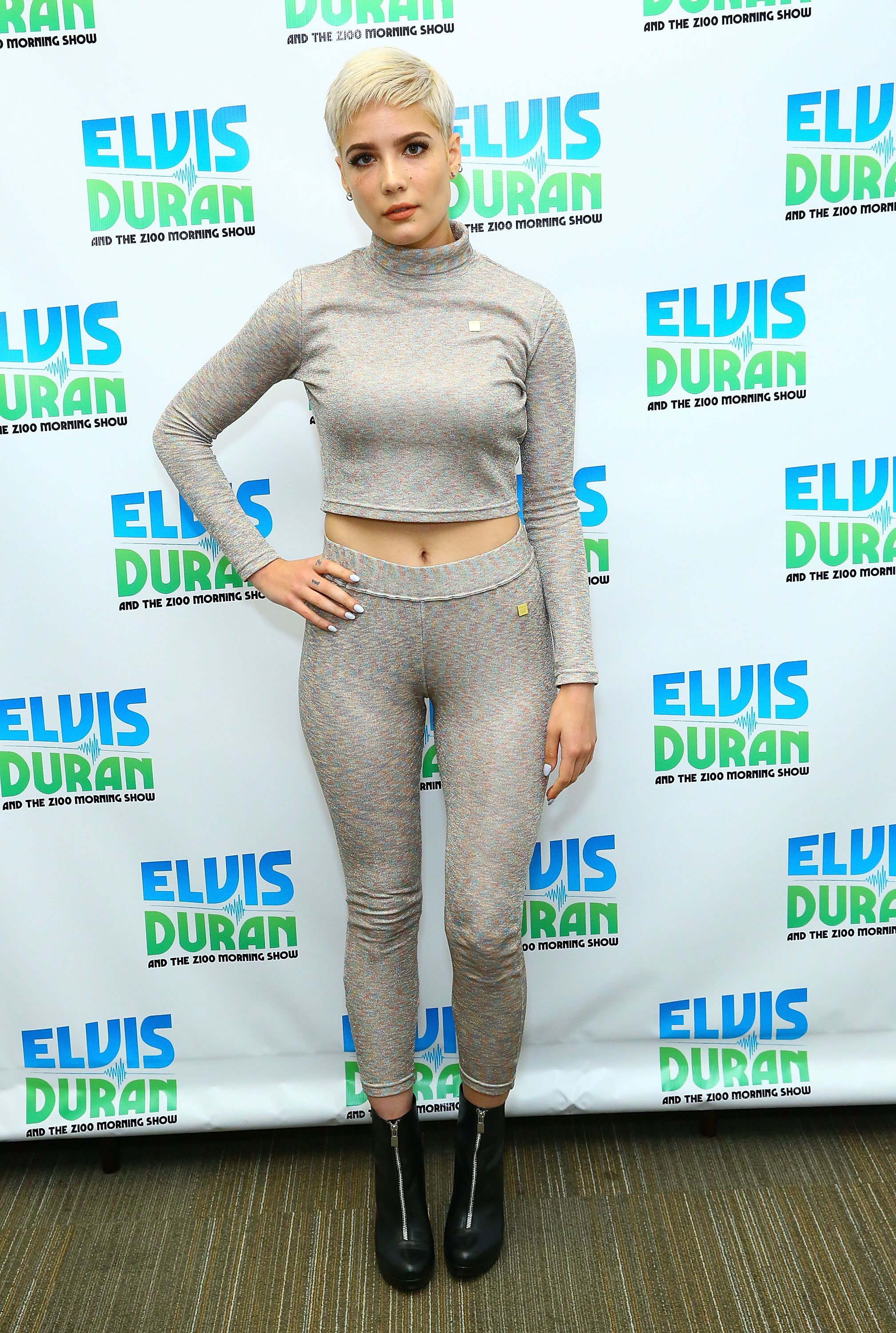 "The singer in matching separates at ""The Elvis Duran Z100 Morning Show"" on Oct. 22 in New York City."