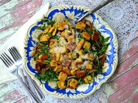 "<strong>Get the <a href=""https://theprimitivepalate.com/2015/01/25/keto-garlic-gnocchi/"">Garlic ""Gnocchi""</a> rec"