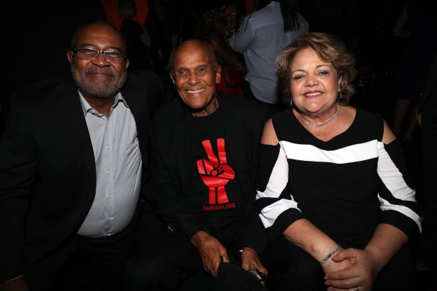 """Ron Stallworth and his wife, Patsy Stallworth, flanking Harry Belafonte at the """"BlacKkKlansman"""" premiere in New Y"""