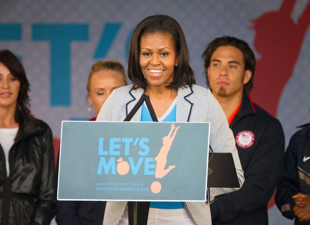 Former first lady Michelle Obama speaks on behalf of Let's Move in London.