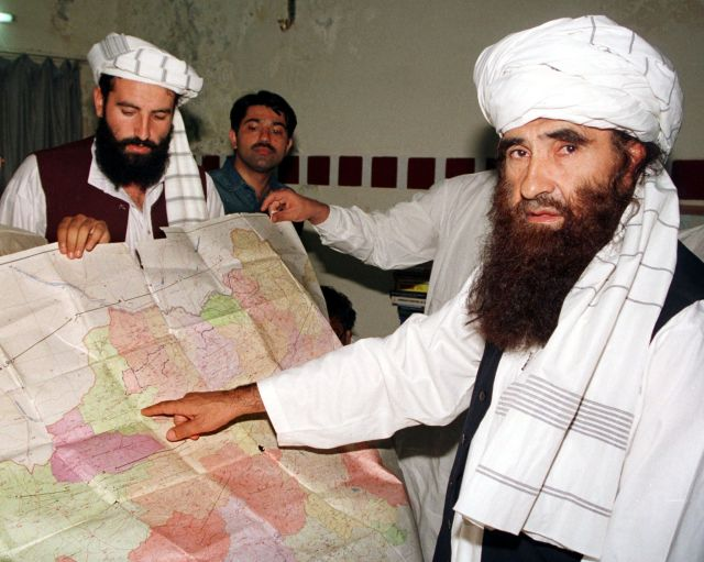 Jalaluddin Haqqani, right, who founded the militant Haqqani network, one of the most powerful and feared groups in the Afghan