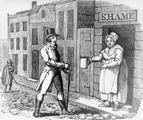 "Circa 1810: A woman proffers a jug of ale to a man in the street from her ""house of shame,"" in an allegorical woodcut."