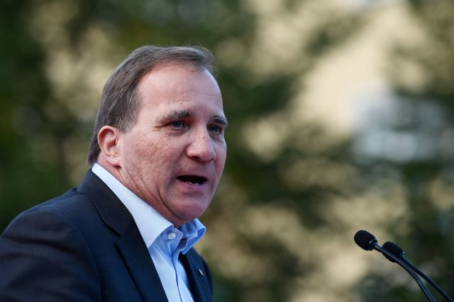 Swedish Prime Minister Stefan Löfven addresses an election campaign rally attended by Spain's prime minister in Enkoping