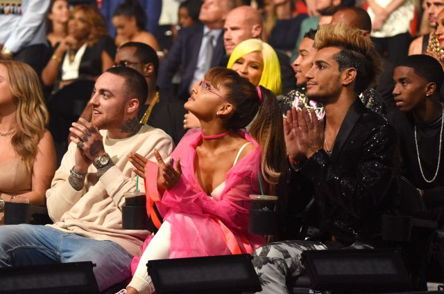 Mac Miller, Ariana Grande and Frankie Grande attend the 2016 MTV Video Music Awards.