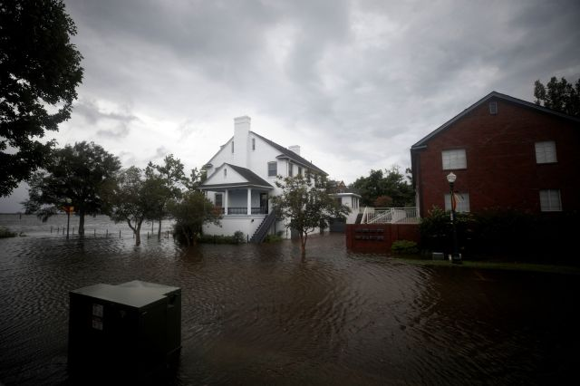 The outer bands of Hurricane Florence led to flooding in New Bern, North Carolina, on Sept. 13, 2018. The full hurricane is e