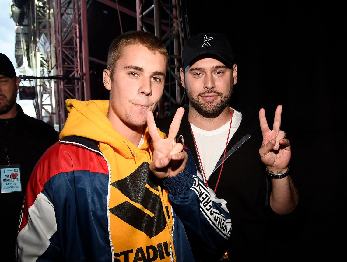 Justin and Scooter backstage at the One Love Manchester concert last year