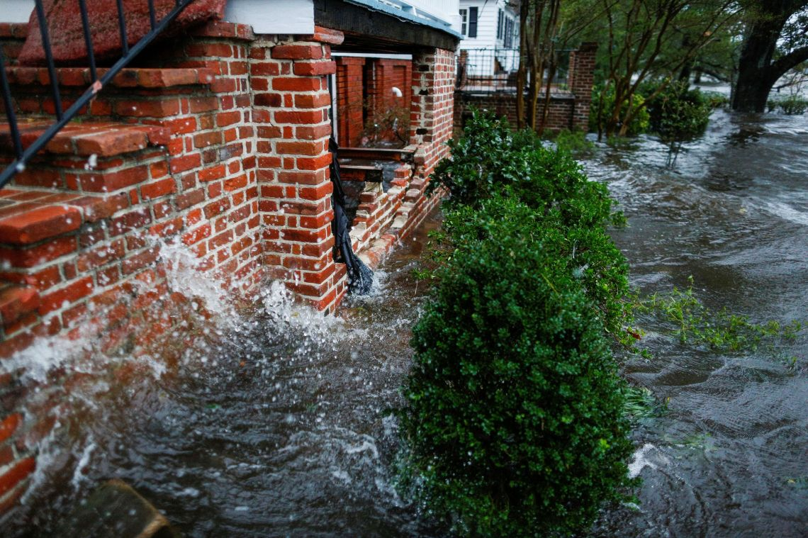 Water from the Neuse river floods houses during the passing of Hurricane Florence in the town of New Bern, North Carolina.