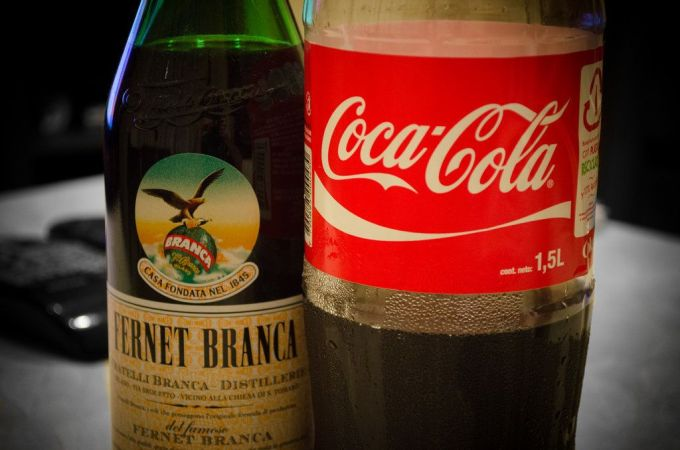 Fernet con Coca for our international potluck dinner.