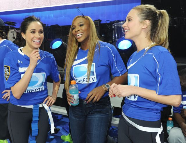 Meghan Markle, Serena Williams and Hannah Davis pictured together on Feb. 1, 2014, in New York City.