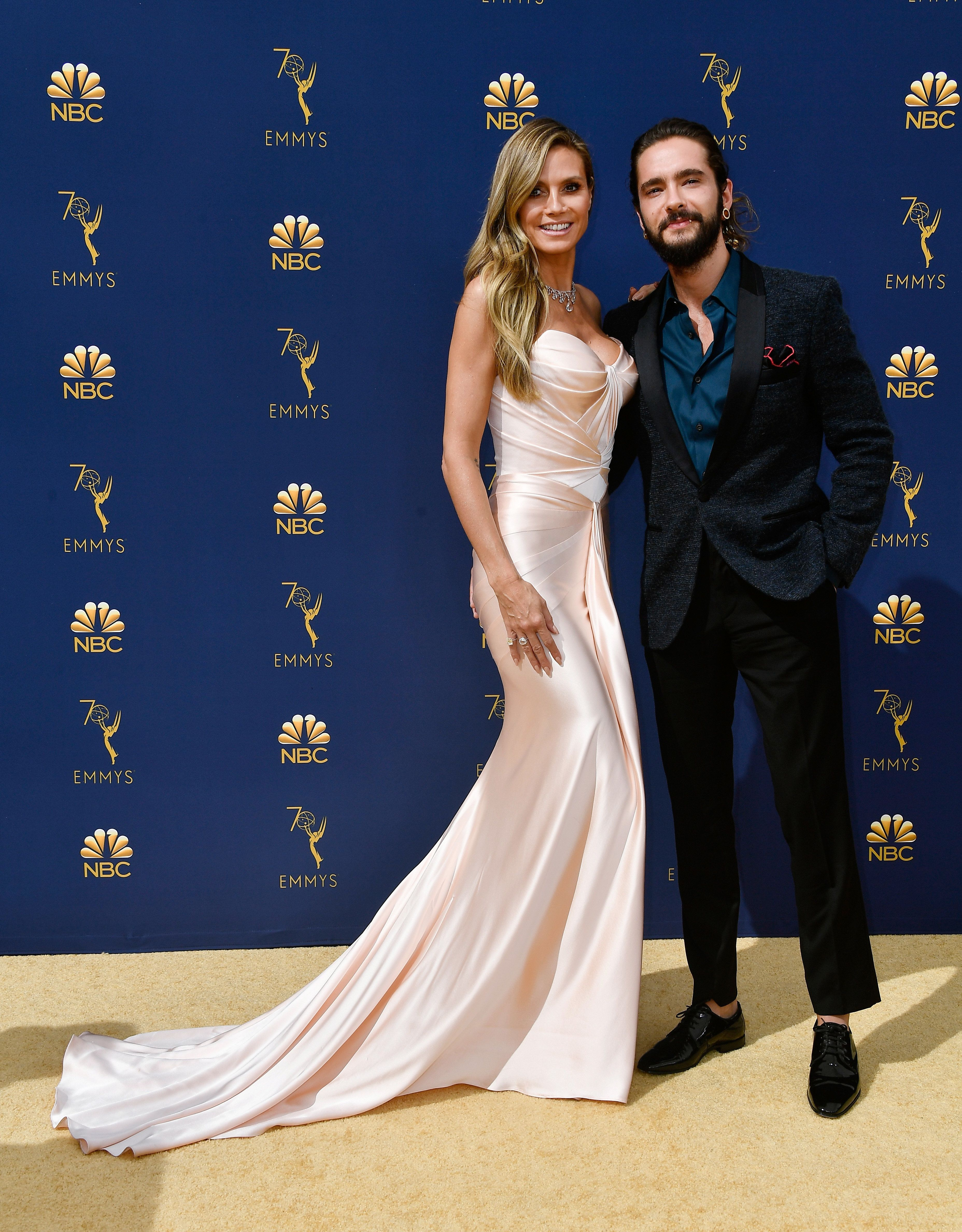 LOS ANGELES, CA - SEPTEMBER 17: Heidi Klum (L) and Tom Kaulitz attend the 70th Emmy Awards at Microsoft Theater on September