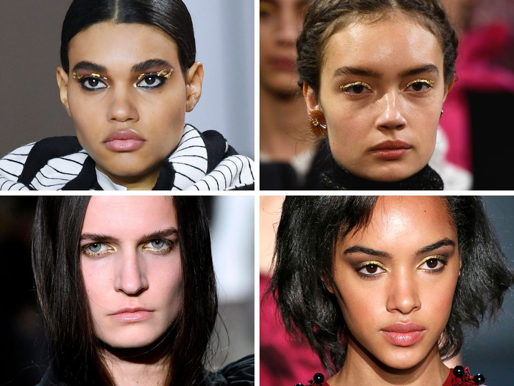 This fall, it's time to go for gold with your eye makeup. At Akris, we saw models strut down the runway with what looked like