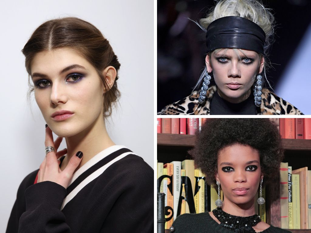 If you love drama, the dark-rimmed eye look is for you. At Alice and Olivia, designer Stacy Bendet's designs were paired with
