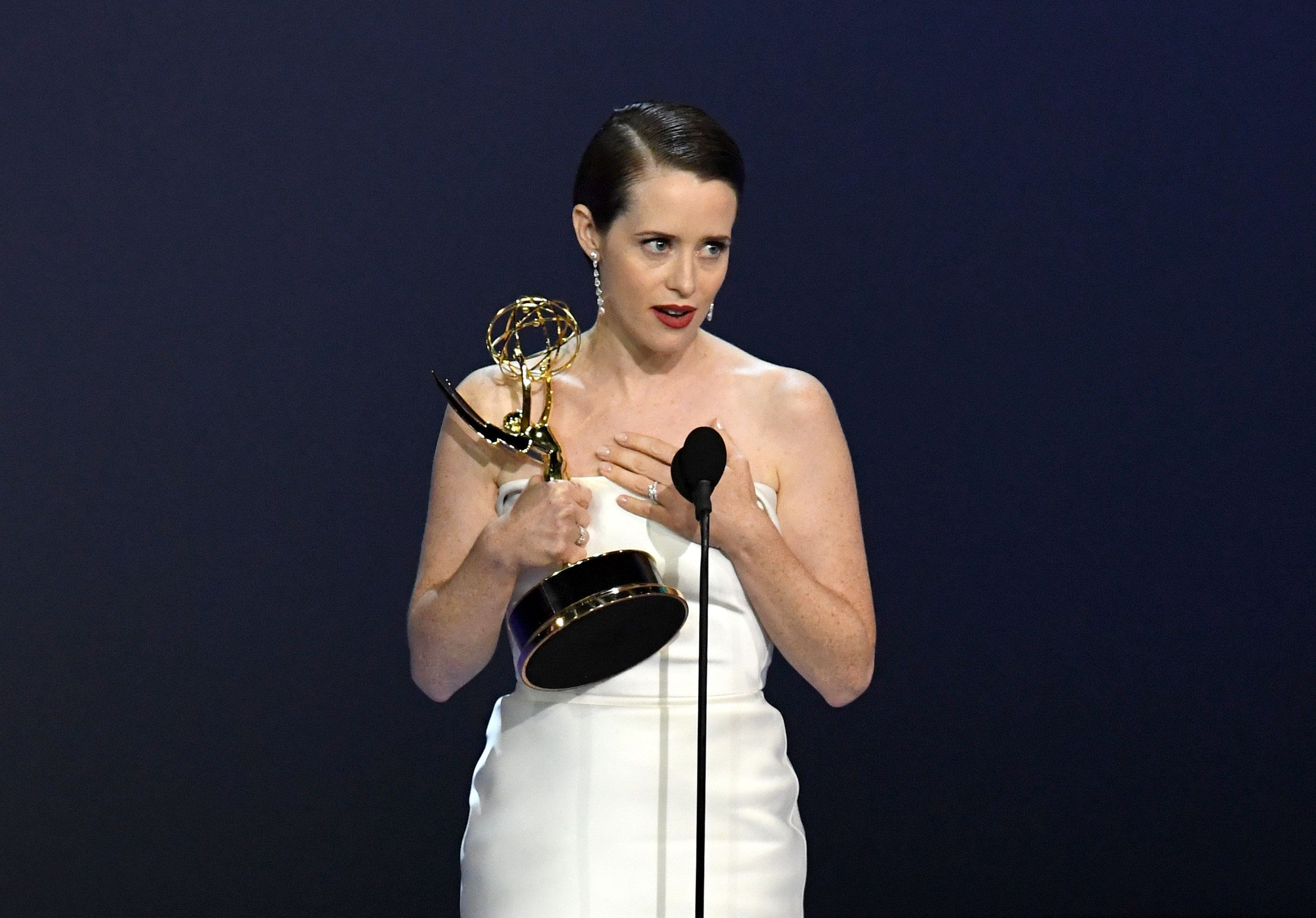 Claire Foy at the Emmy Awards.