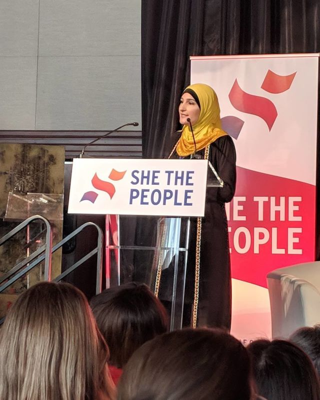 Linda Sarsour, aShe the People organizer, addresses the summit in San Francisco on Sept. 20.