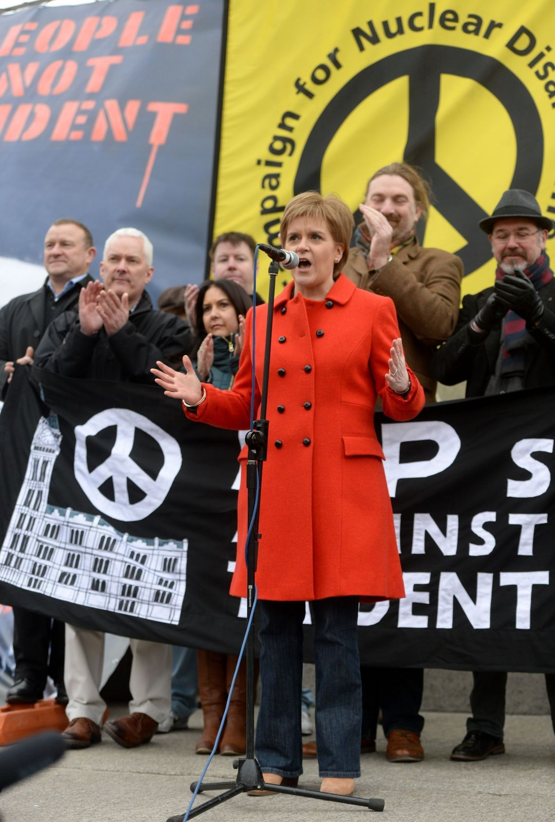 Scottish First Minister Nicola Sturgeon address protesters at a Stop Trident protest rally in Trafalgar Square, London.