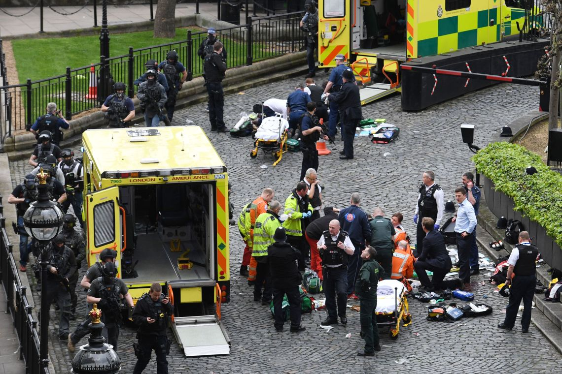 Emergency services at the scene outside the Palace of Westminster, London, where Pc Keith Palmer was fatally stabbed by Khalid Masood