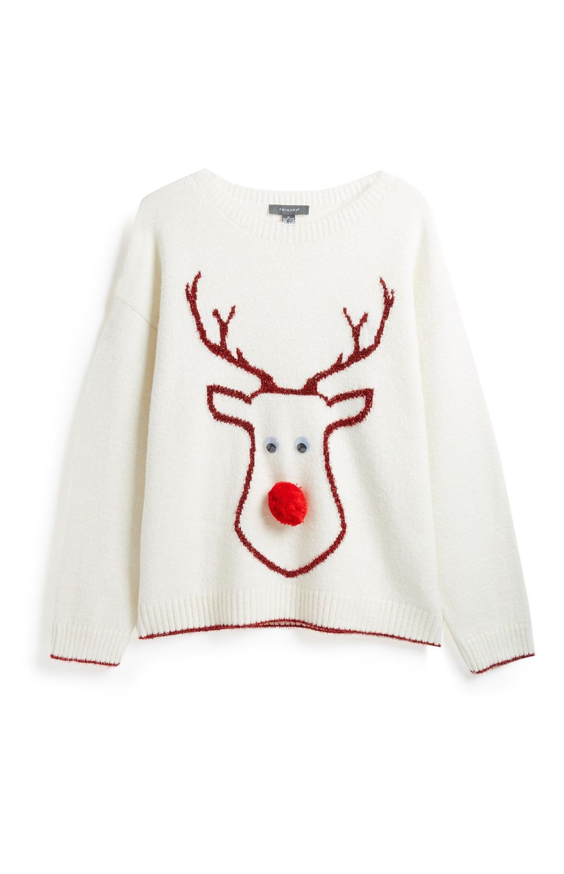Upgrade the classic rudolf Xmas knit with googly eyes and a pompom nose. Love.Primark, £12.