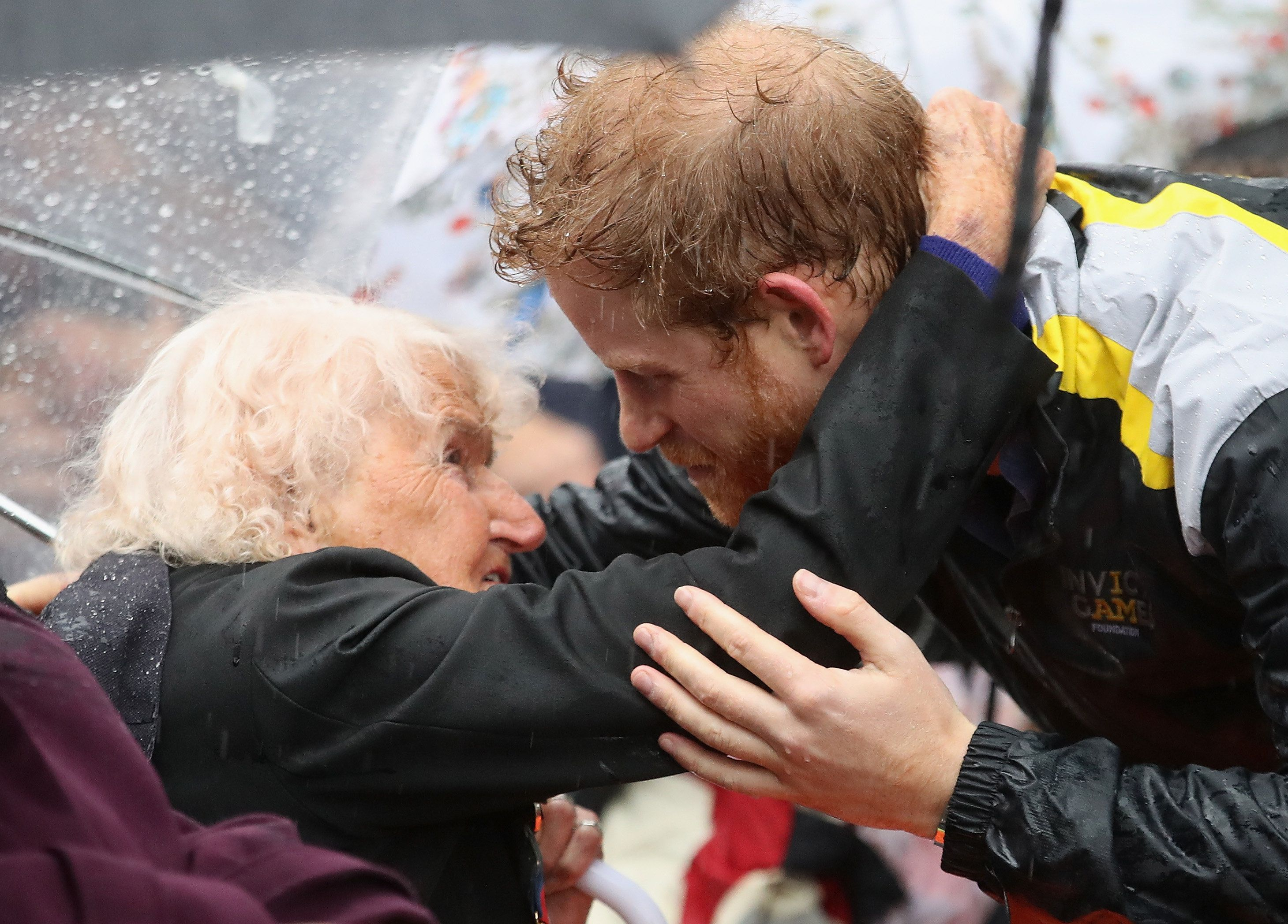 Daphne Dunne had to wait in the rain in 2017 to meet Prince Harry.