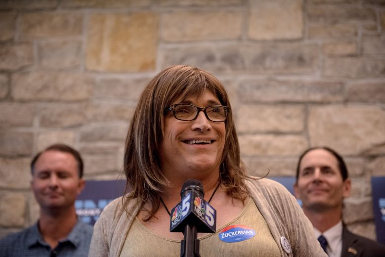 Vermont Democratic gubernatorial nominee Christine Hallquist at an August rally in Burlington. Hallquist is the first openly