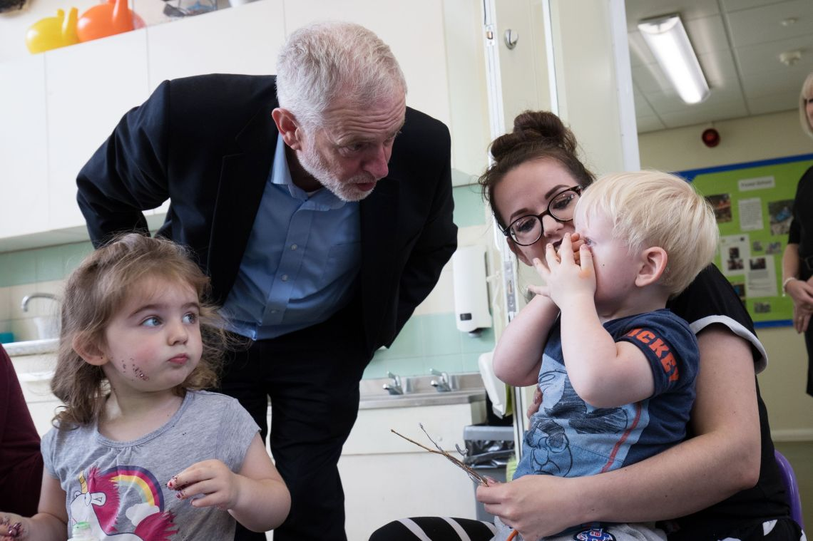 Jeremy Corbyn visits a children's centre in Norwich